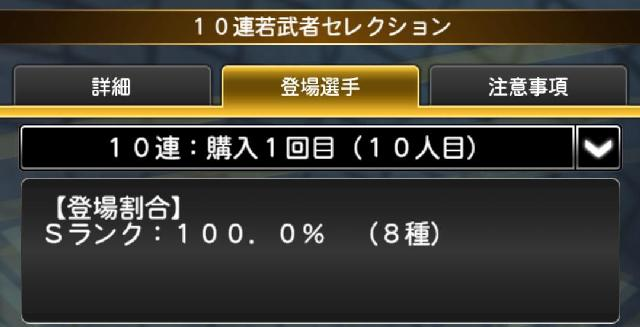 侍ジャパンガチャ10連目確率