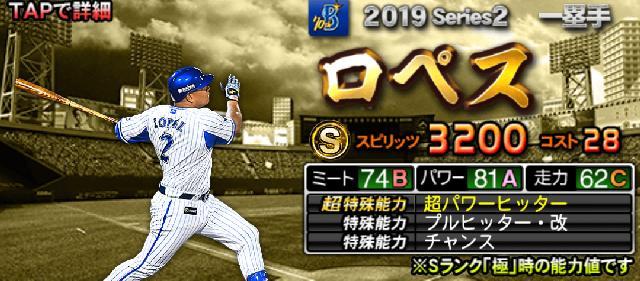 シリーズ2Sランク一塁手ロペス