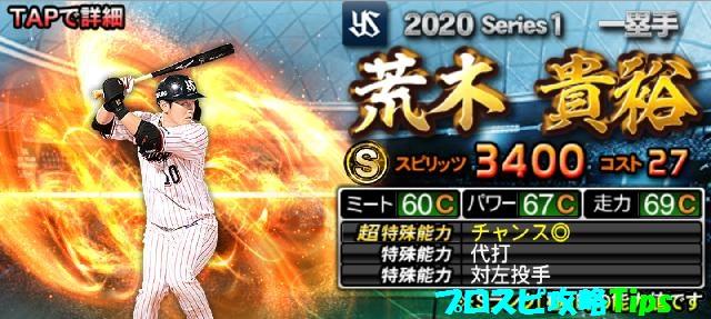 2020シリーズ1Sランク野手荒木