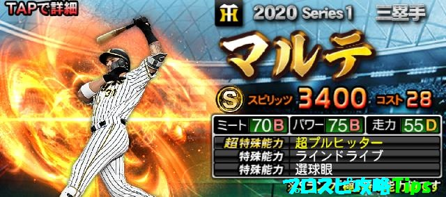 2020シリーズ1Sランク野手マルテ
