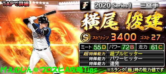 2020Sランク野手横尾