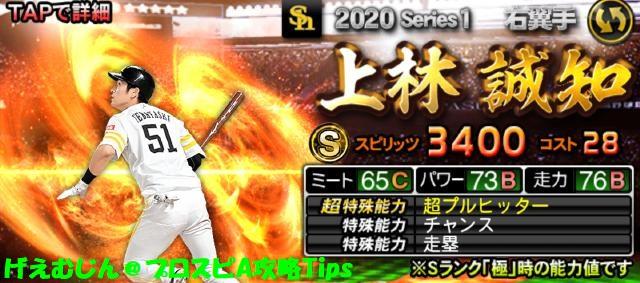 2020Sランク野手追加上林