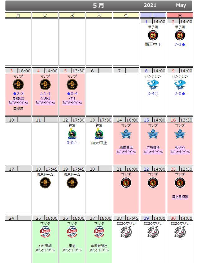 広島カープ日程