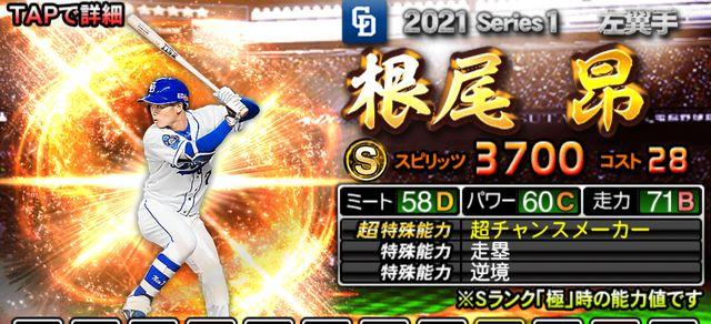 2021シリーズ1野手根尾