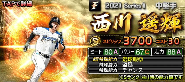 2021シリーズ1中堅手西川