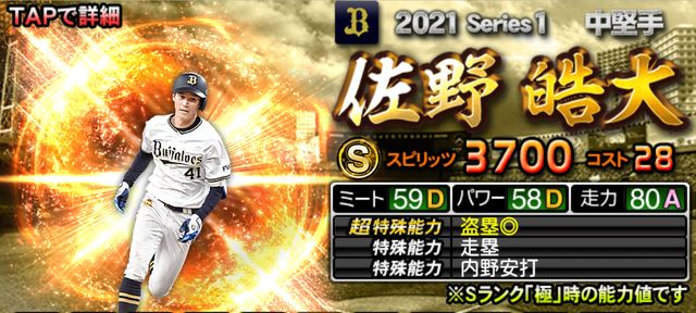2021シリーズ1中堅手佐野
